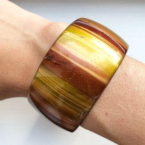 Brown & amber teak wood bangle bracelet